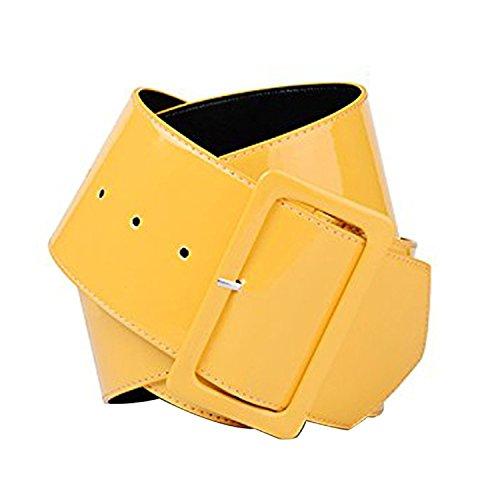 Tim And Ted Womens Retro PVC Wide Cinch Gürtel - Große Schnalle Taille Shiny Stilvolle Mädchen 70er Jahre Stil