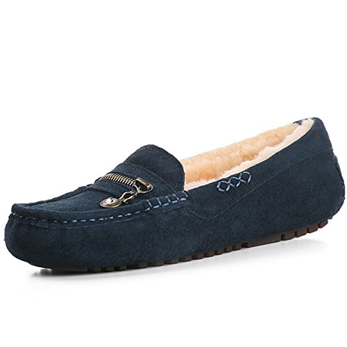 OZZEG Mocassins Portefeulilles femmes confortables en cuir pour chaussures de travail pour le bureau plat en peau de mouton Bleu Marine
