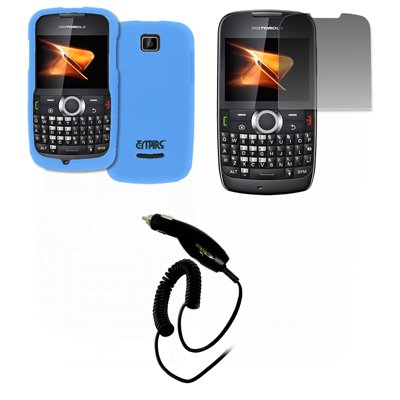 EMPIRE Light Blau Gummierte Harte Case Tasche Hülle Cover + Displayschutzfolie Film + Auto Charger (CLA) for Boost Mobile Motorola Theory X430 Boost Mobile Motorola