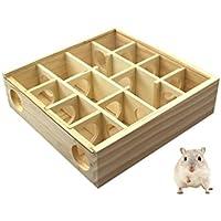 Petacc Hámster Laberinto de madera Juguete para mascotas Juguete de hámster, ideal para hámsters, jerbos y conejillos de Indias, amarillo claro