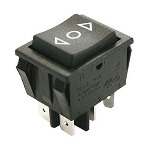 """Interruptor basculante bipolar empotrable de 3 posiciones con retorno a """"0"""" Electro dh 11.405.I/TPR  Características: Función: (ON)-OFF-(ON), 6T Rotulación en la tecla: """""""" Color de la tecla: Negro Color del cuerpo base: Negro Terminales: 6 Termin..."""
