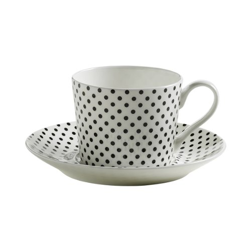 Maxwell & Williams S84001 Art Deco Tasse mit Untertasse, Kaffeetasse, gepunktet, in Geschenkbox, Porzellan