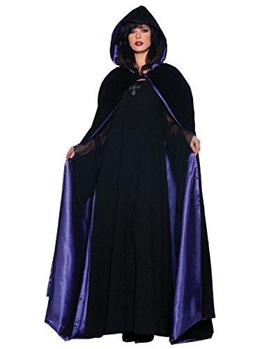 Underwraps Gothic Deluxe Velvet & Satin Cape Vampire Costume, Black/Purple, 63