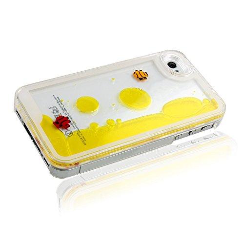 ISAKEN iPhone 4S Hülle,iPhone 4 Hülle,iPhone 4S Case,Hard Hülle für iPhone 4S 4,Kreativ Design Liquid Fließen Flüssig Schwimmend Fisch Goldfisch Design Crystal Clear Hard Case Tasche Transparent Prote Gelb