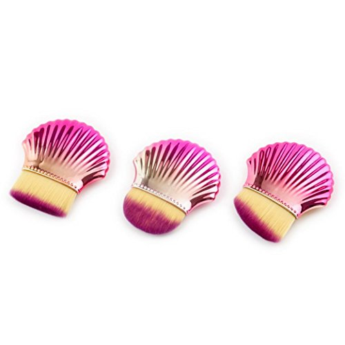 JYC 3 pcs coloré Coque Brosse de Maquillage synthétique Fond de teint Mélange Blush Brosse de Poudre Visage Beauté Cosmétique outils