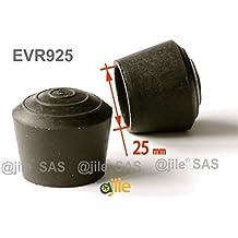 ajile - 4 pièces - Embout enveloppant rond en caoutchouc pour tubes de diam. 25 mm - NOIR - EVR925-M