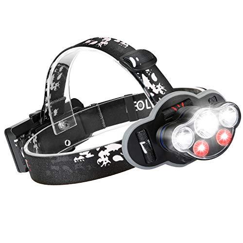 HPY Stirnlampe, Kopflampe LED USB Wiederaufladbar IPX5 Wasserdicht, 8 Modi 6000LM mit Sicherheitslicht Perfekt für Gassi Gehen Spazieren Joggen Wandern Campen Angeln