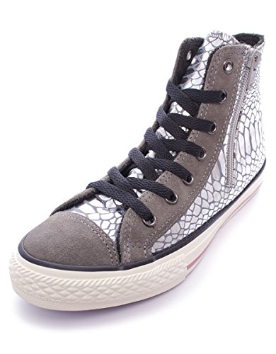 CONVERSE 746381C silver ct side zip scarpe bambina all star mid stampa Silver/Charcoal/Shiny