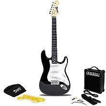 RockJam RJEG02-SK-BK Full Size Electric Guitar Superkit with Guitar Amplifier Guitar Strings Guitar Strap Guitar Bag and Guitar Cable Black