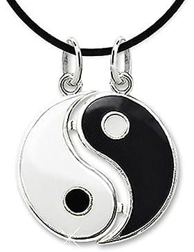 CLEVER SCHMUCK Silberner Partneranhänger Ø 15 mm zusammen (teilbar) Yin Yang schwarz und weiß lackiert glänzend...