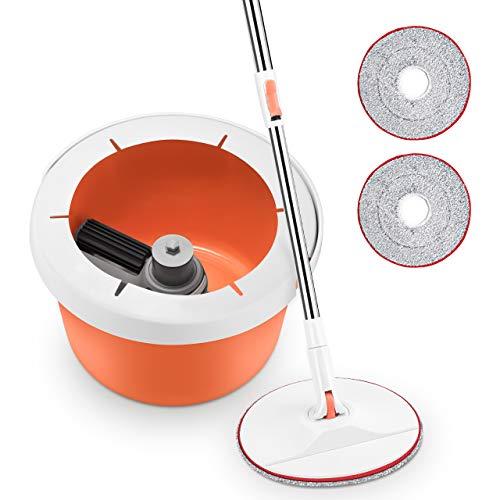 Homitt Bodenwischer Mopp Reinigungssystem, 2 in 1 Eimer Wischmop Set