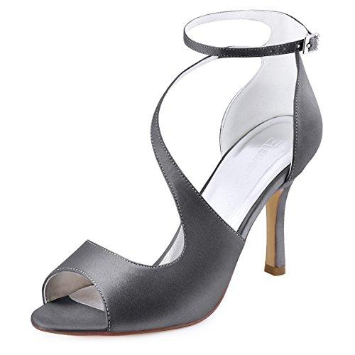 Elegantpark hp1565 donna peep toe sandali tacco a spillo fibbia raso ballo sposa partito scarpe acciaio argento eu 39