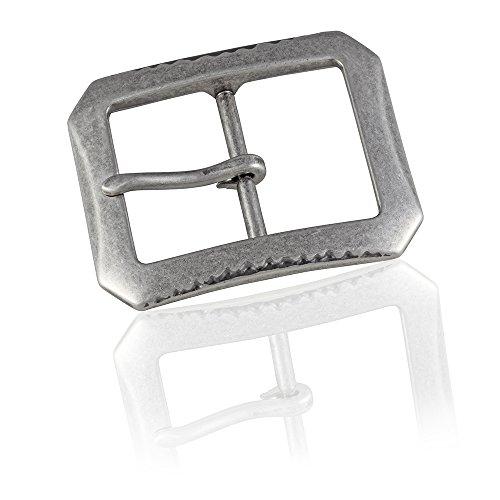 Preisvergleich Produktbild Gürtelschnalle Buckle 40mm Metall silber antik - Buckle Blip - Dornschliesse für Gürtel mit 4cm Breite - silberfarben antik