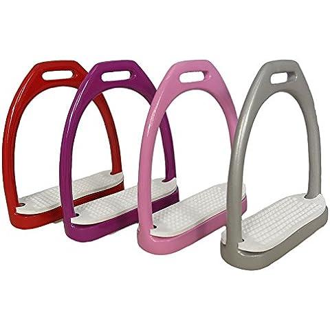 In alluminio leggero Jinn antiscivolo tappetini Pony ferri staffe da equitazione, Red, 100mm / 4 Inches