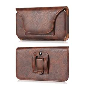 Universal Rhino Leather Magnetic Wallet Card-slot Waist Bag For Phone -Brown-6.3 Inch