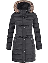5d4e358ff7 Spindle Womens Long Fur Trimmed Hooded Padded Puffer Parka Ladies Winter Jacket  Coat