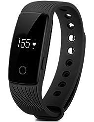 YAMAY® HR Pulsera de Actividad con Pulsómetro Pulsera Inteligente Deportiva Reloj Fitness Podómetro Bluetooth Seguimiento de Actividad con Monitor del Ritmo Cardiaco / Seguimiento de Pasos / Contador de caloría / Seguimiento del Sueño Compatible con Teléfonos iPhone iOs y Android