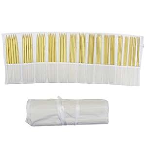 2mm - 12mm Satz mit 16 Nadelspielen mit jeweils 5 Nadeln je Stärke 25cm (10 Zoll) Handarbeit Doppelstricknadel in Baumwolltasche von Curtzy TM (80 Nadeln)