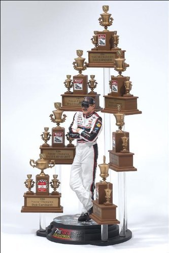 Dale Earnhardt Sr GM Goodwrench NASCAR Seven 7 Time Champion Action Figure & NASCAR (No Winston Cup Logos) Facsimile Champion Trophy Set McFarlane by Unknown