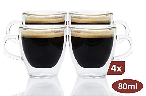 Maxxo Doppelwandige Gläser Ristretto Set 4X 80 ml Kaffee Thermogläser mit Schwebe-Effekt beständige Kaffeegläser