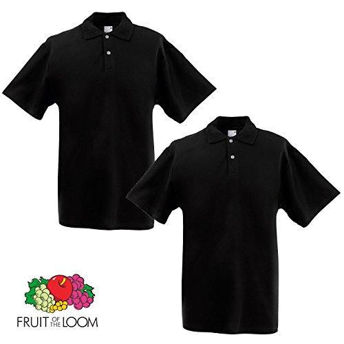 Fruit of the Loom Herren Poloshirt XXXL Schwarz