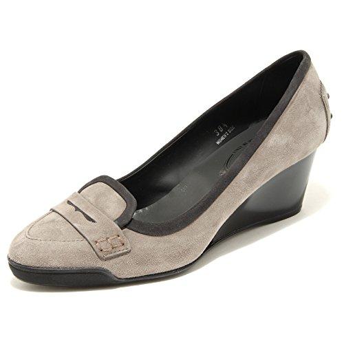 25534 Decollete Grey Suede Zeppa Tods Scarpa Donna Shoes Women [38]