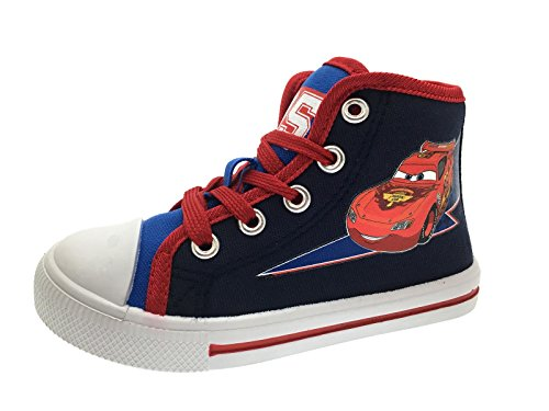 Image of Kids Boys Disney Cars Trainers Lightning McQueen Hi Tops Canvas Pumps Ankle Boots Size UK 7-11