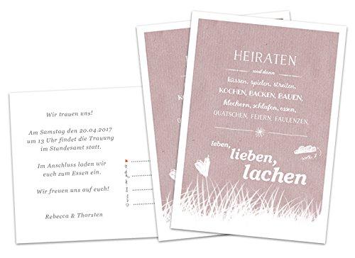 50 Hochzeitseinladungen inkl. Druckservice - Heiraten und dann... - ROSA (Altrosa) mit individuellem Text auf der Rückseite Hochzeitskarten Einladungskarten Recyclingpapier