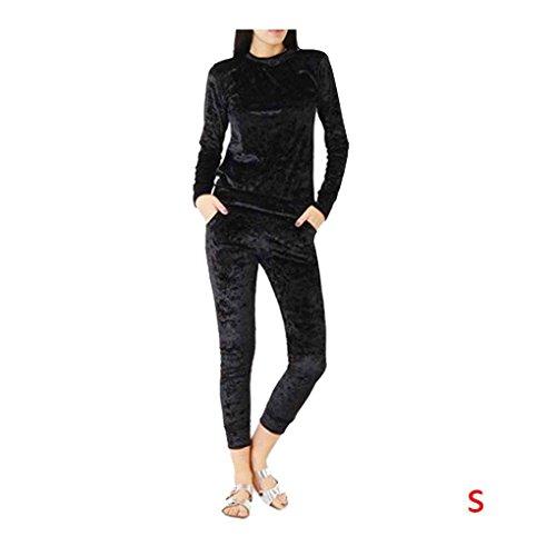 Tuta da donna in velluto a due pezzi Set da donna Sexy a maniche lunghe Top e pantaloni tuta Suit Minzhi Nero