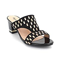 AARZ LONDON Women Ladies Evening Casual Party Slip On Diamante Decorated Block Heel Black Sandals Shoes Size 9
