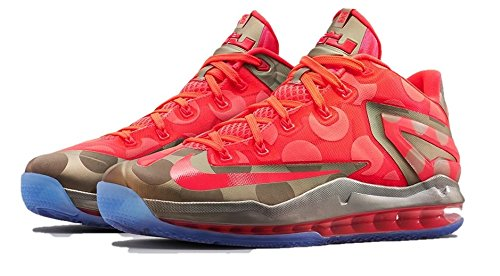 Max Lebron Xi Low Collection, zinco metallico / iper Punch-ghiaccio, 10 M Us