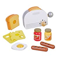MaMaMeMo 85457 Wooden Toaster with Breakfast Playfood, White
