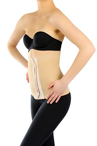 ®BeFit24 Medizinisches Premium Abdominal-Bauchband – Elastischer post-operativer und postnataler Abdomengürtel – Bauchband nach Kaiserschnitt-Geburt - Abdominal Postpartum Belt - [ Size 7 - Beige ]