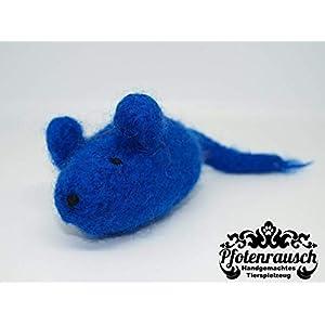 Filzmaus blau mit Baldrian – für Katzen