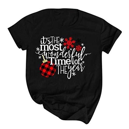 Binggong Damen Xmas Print T-Shirt Weihnachtsmotiv Kurzarmshirt,Crewneck Casual Shirts Frau Brief Druck Tunika Tops Sommershirt -