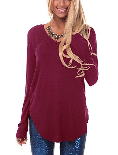 Donna maglia a manica lunga felpa con scollo a v camicia pullover camicetta t shirt tunic tops vino rosso s