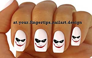 x20 NAIL ART WRAP WATER TRANSFERS STICKERS DECALS BATMAN JOKER SCARY FACE #615