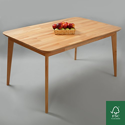 Krok Wood Paris Buche Esstisch Massivholz Tisch Natur 100% 140x90x75 cm Esszimmertisch