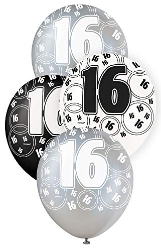 Schwarz Glitz Age 16 Happy Birthday 12 Inch Latex Balloons - Pack of 6 - Mixed Colours -