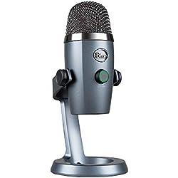 Blue Yeti Nano Micrófono USB de condensador profesional con múltiples patrones de captación y monitoreo sin latencia para grabación y transmisión en PC y Mac, Gris