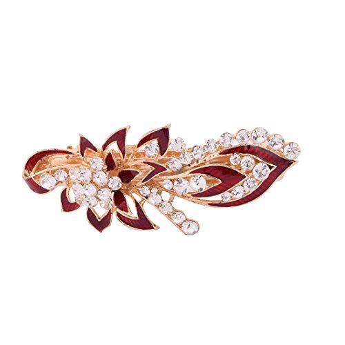 sourcing map Damen Metall Blume Design Faux Strasssteine Intarsien Haarspange Haarnadel Rot DE