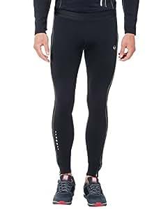 Ultrasport Men's Long Quick-Dry-Function Running Tights - Black/Palomagrey, Small