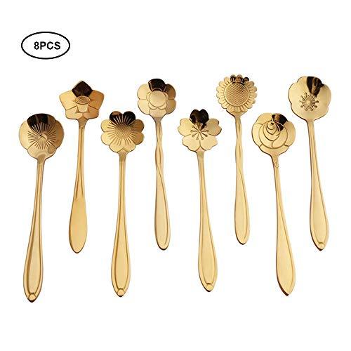 AOLVO en Acier Inoxydable Vaisselle Créative Fleur Cuillère à Café, Cuillère à Usages Multiples Alimentaire pour Le Thé, Café, Crème Glacée, Gâteau, Ensemble de 8 (3 Couleurs Disponibles)