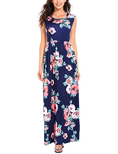 ISASSY Women's Floral Print Vintage Boho Maxi Long Dress Sundress Evening Party Beach Holiday