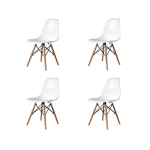 Ventamueblesonline PACK DE 4 SILLAS NÓRDICAS TOWER WOOD BLANCA - RÉPLICA EAMES -