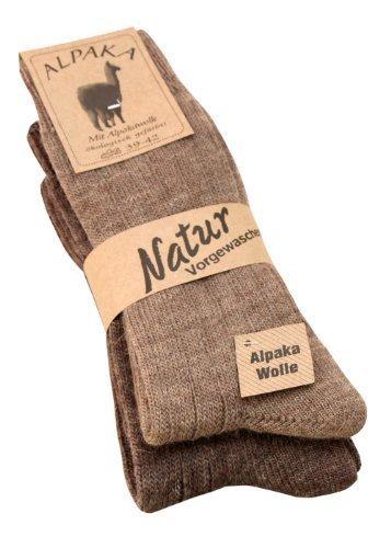 Alpaka Socken aus Alpaka Wolle weich und warm, 2 Paar,Gr 39-42 (Dünne Wollsocken)