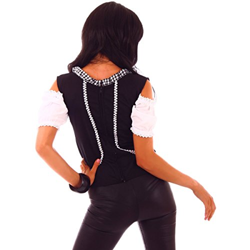20615 Fashion4Young Damen Dirndlbluse Bluse Trachtenbluse Dirndl Trachten Oktoberfest Lederhose Trachtenmieder schwarz-weiss