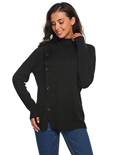 Meaneor Damen Herbst Winter Warm Strickpullover Sweater Hoher Kragen Pullover Strickpulli mit schräger Zier-Knopfleiste Schwarz