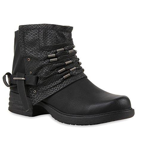 Stiefelparadies - Stivali da Motociclista Donna Nero (nero)