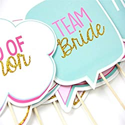 AREA44 10pcs Bride to Be Photo Booth Props/ Wedding Decoration / Team Bride Party Favors Glitter Photobooth Wedding Event